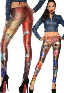 Farbenfrohe Leggings mit trendy Muster der 70 er