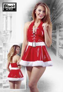 rotes Lack-Kleid mit weißem Plüsch