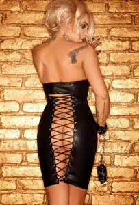 Wetlook-MiniKleid mit Rückenschnürung