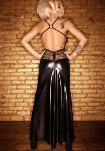Langes Kleid im Wetlook bis Größe 60