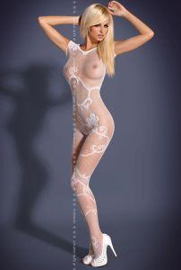 Elastischer Netz-Catsuit in Weiß
