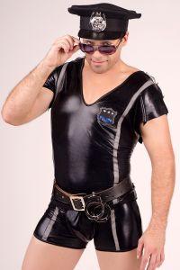 Gogo-Outfits für Männer, Hemd und Short im Police-Officer-Look