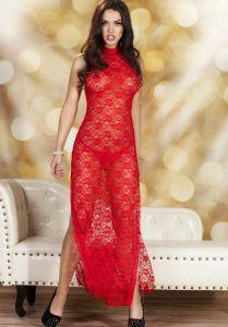 Rotes Kleid aus transparenter Spitze mit Seitenschlitz
