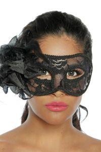 Maske mit Stoff- und Federverzierung
