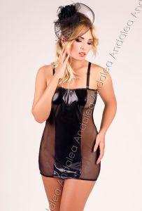 schwarzes Netz Nachtkleid bis Größe 56
