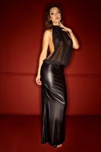 Langes Kleid mit Chiffonoberteil (F102)