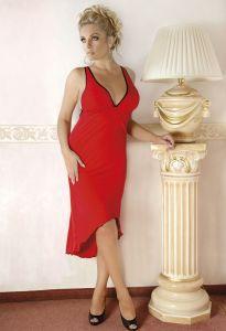 Langes Kleid in rot aus elastischem Material