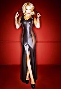 langes Kleid bis 10 XL mit großem Kragen