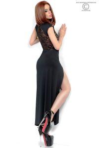 Langes Kleid mit transparenter Spitze
