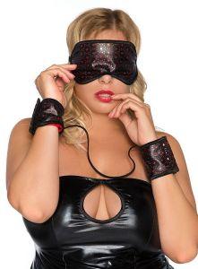 Maske und Handfesseln aus rotem Wetlook-Material