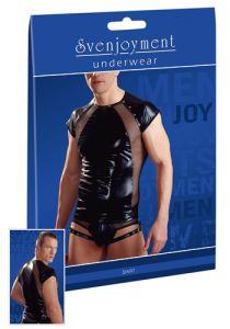 Herren-Shirt aus glänzendem Wetlook und Netz