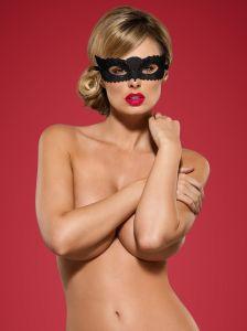 Guipure-Maske in schwarz von Obsessive