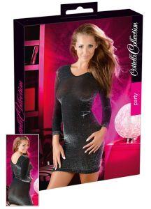 schwarzes Minikleid mit silbernem Glitzer