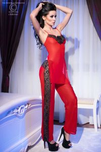 Top + Hose in rot/schwarz von Chilirose