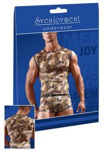 Shirt aus Powernet mit Military-Print