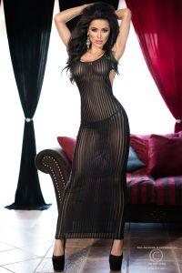 langes Kleid aus elastischem Spitzenmaterial