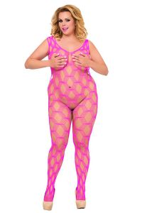 Plus Size Netz-Catsuit ouvert in Pink