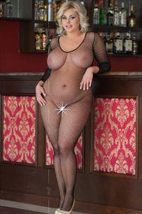 Erotischer Plus Size Netz-Catsuit XXXL
