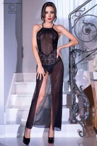 langes Kleid aus transparentem Mesh mit langem Schlitz