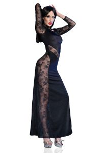 Langes Gothic Cocktailkleid aus schimmerndem Material