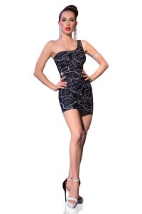 schwarzes Minikleid mit extravagantem Muster in neonweiß