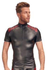 Shirt im Mattlook mit roten Streifen-Einsätzen auf der Schulter
