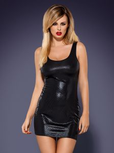 elastisches Wetlook Minikleid in Metallic-Optik
