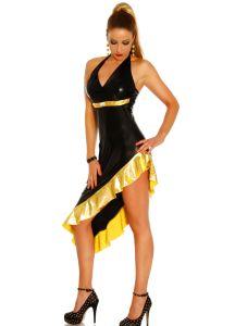 Kleid Wetlook schwarz/gold